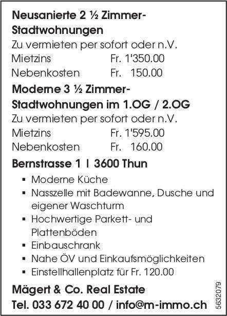 Neusanierte 2 ½ Zi.-Stadtwohnungen sowie moderne 3 ½ Zi.- Stadtwohnungen in Thun zu vermieten