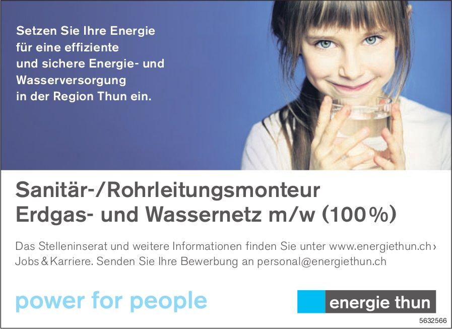 Sanitär-/Rohrleitungsmonteur Erdgas- und Wassernetz m/w (100 %), Energie Thun, gesucht