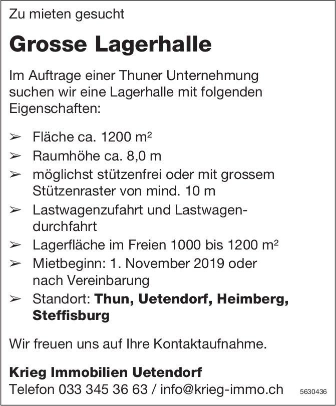 Grosse Lagerhalle Raum Thun, Uetendorf, Heimberg, Steffisburg zu mieten gesucht