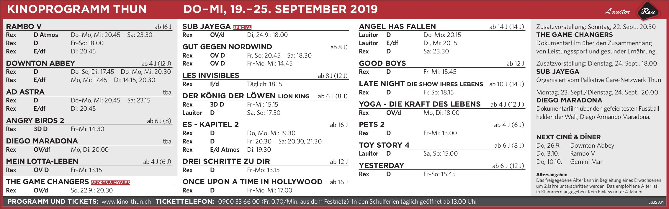 KINOPROGRAMM THUN, DO–MI, 19.–25. SEPTEMBER