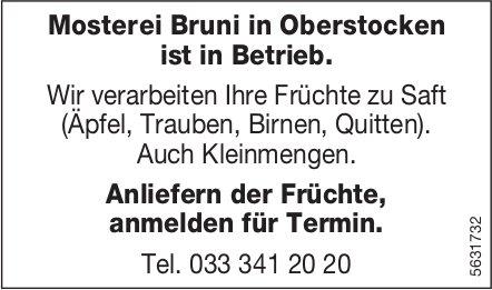 Mosterei Bruni in Oberstocken ist in Betrieb.