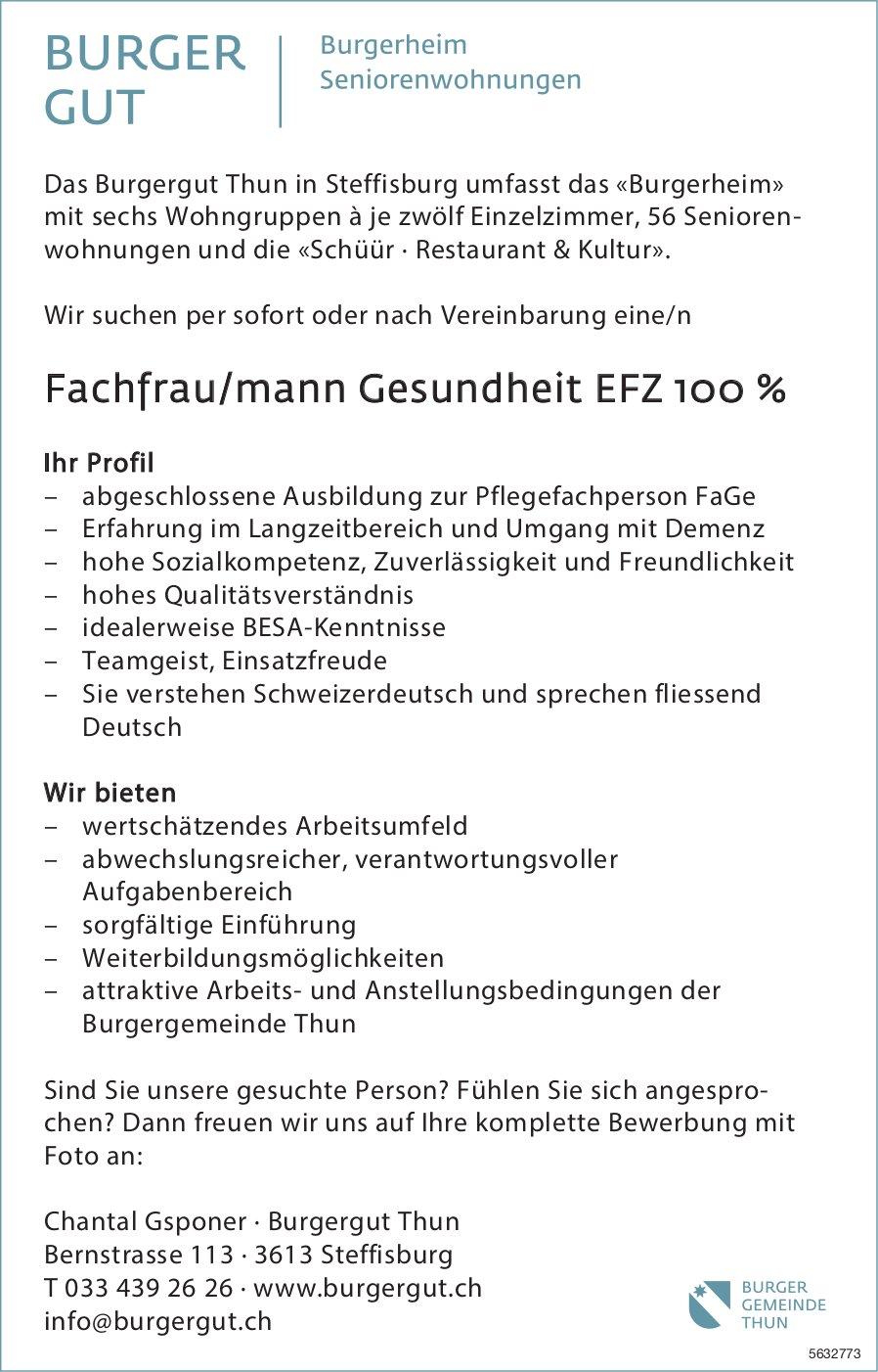 Fachfrau/mann Gesundheit EFZ 100 %, Burgergut Thun, Steffisburg, gesucht