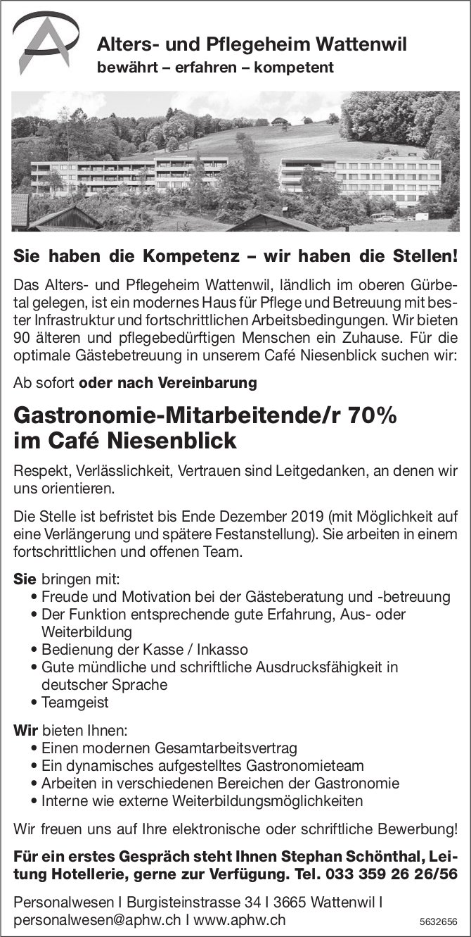 Gastronomie-Mitarbeitende/r 70% im Café Niesenblick, Wattenwil, gesucht