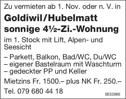 Sonnige 4½-Zi.-Wohnung in Goldiwil/Hubelmatt zu vermieten