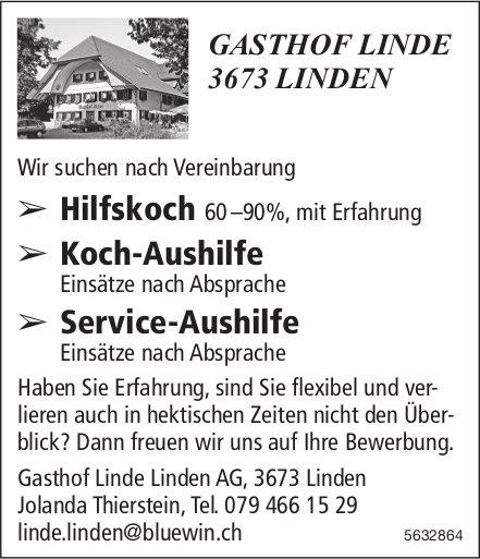 Hilfskoch 60-90%, Koch-Aushilfe, Service-Aushilfe, GASTHOF LINDE, Linden, gesucht