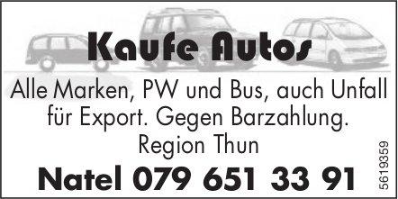 Kaufe Autos - Alle Marken, PW und Bus, auch Unfall tür Export.