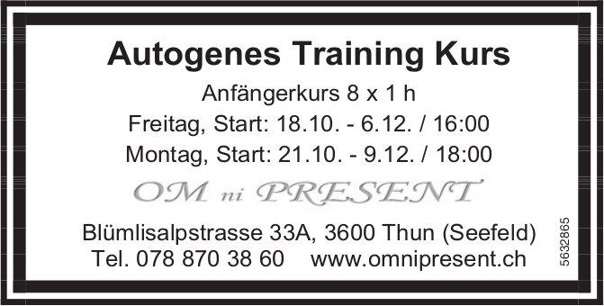 OM ni PRESENT - Autogenes Training Kurs, Anfängerkurs 8 x 1 h ab 18. oder 21. Okt.