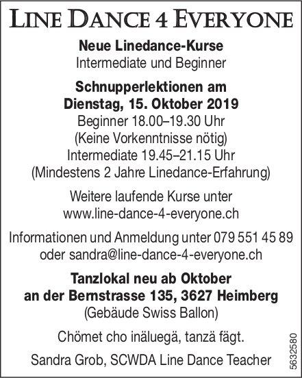 LINE DANCE 4 EVERYONE - Neue Linedance-Kurse / Schnupperlektionen am Dienstag, 15. Oktober