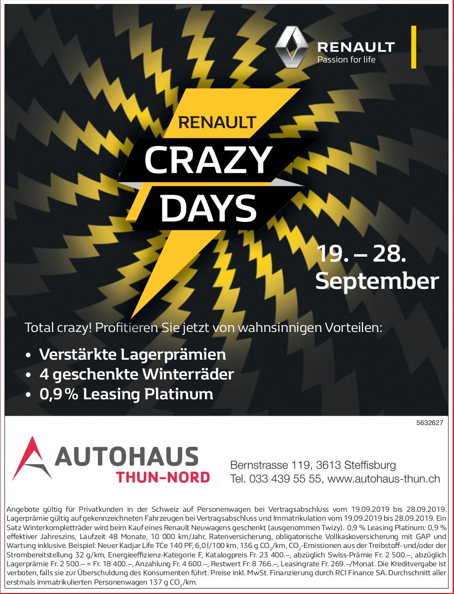 AUTO HAUS THUN-NORD - RENAULT CRAZY DAYS, 19. - 28. September