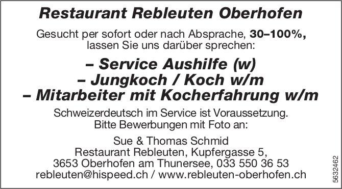 Service Aushilfe (w), Jungkoch/Koch (w/m) & Mitarbeiter mit Kocherfahrung w/m, Restaurant Rebleuten