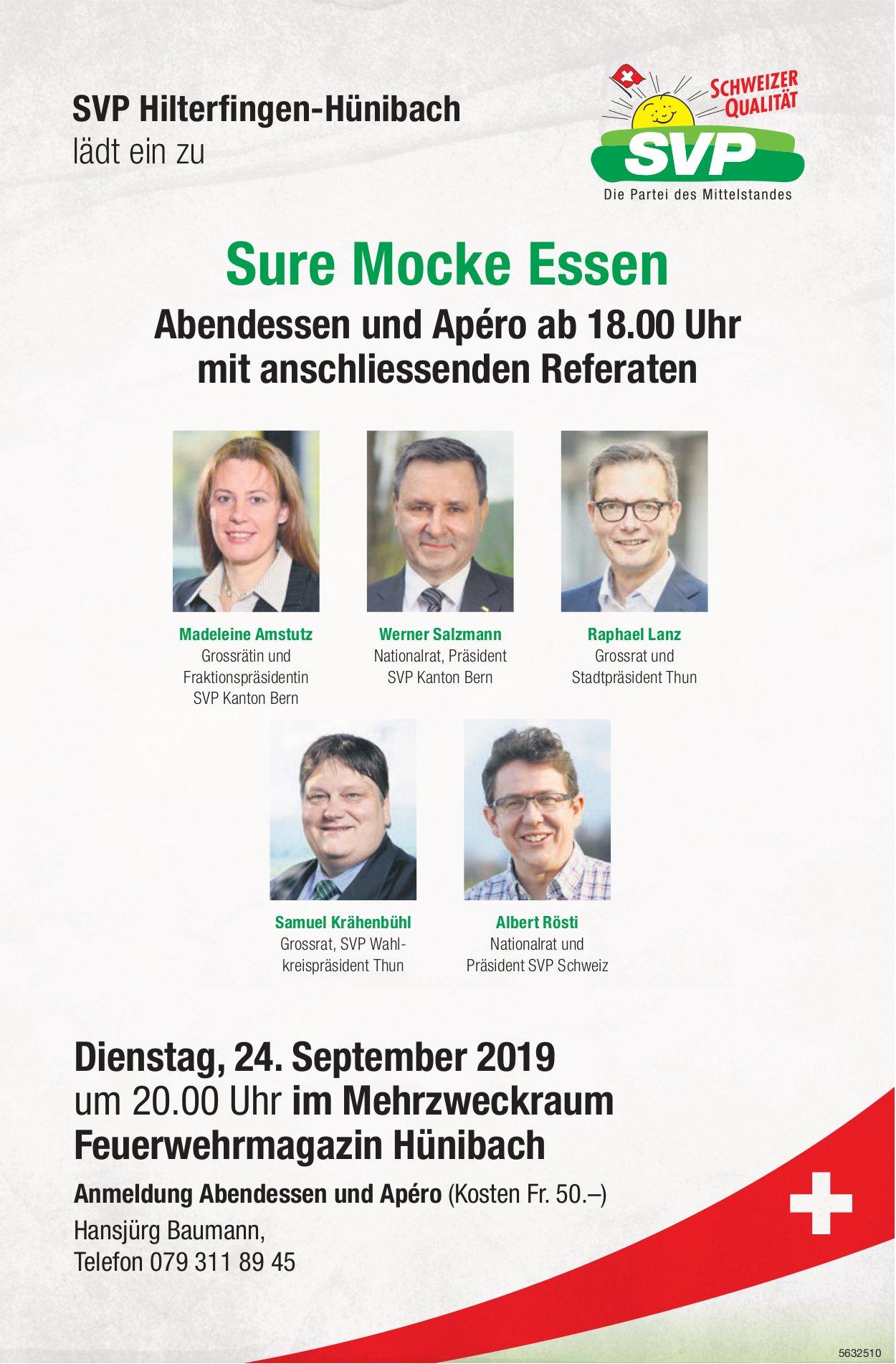SVP Hilterfingen-Hünibach lädt ein zu Sure Mocke Essen Sure Mocke Essen am 24. September