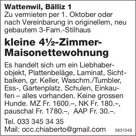 Kleine 4½-Zimmer-Maisonettewohnung in Wattenwil zu vermieten