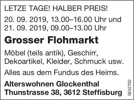 Alterswohnen Glockenthal - Grosser Flohmarkt, letzte Tage, halber Preis! 20. + 21. Sept.