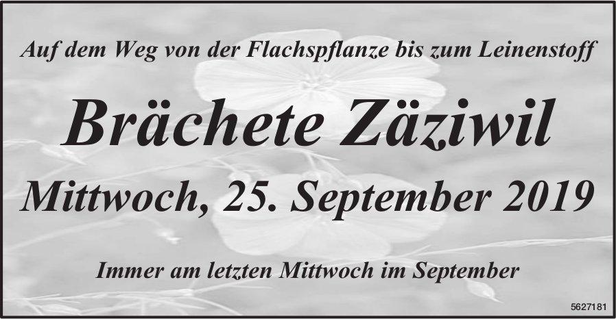 Auf dem Weg von der Flachspflanze bis zum Leinenstoff: Brächete Zäziwil am 25. September