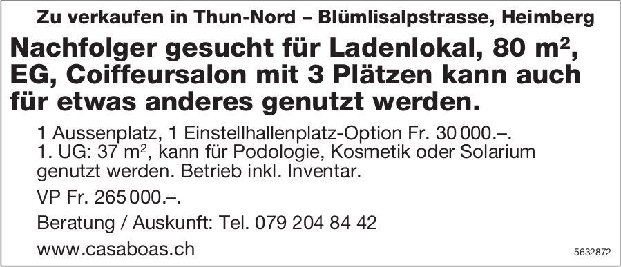 Nachfolger gesucht für Ladenlokal, 80 m2 in Heimberg