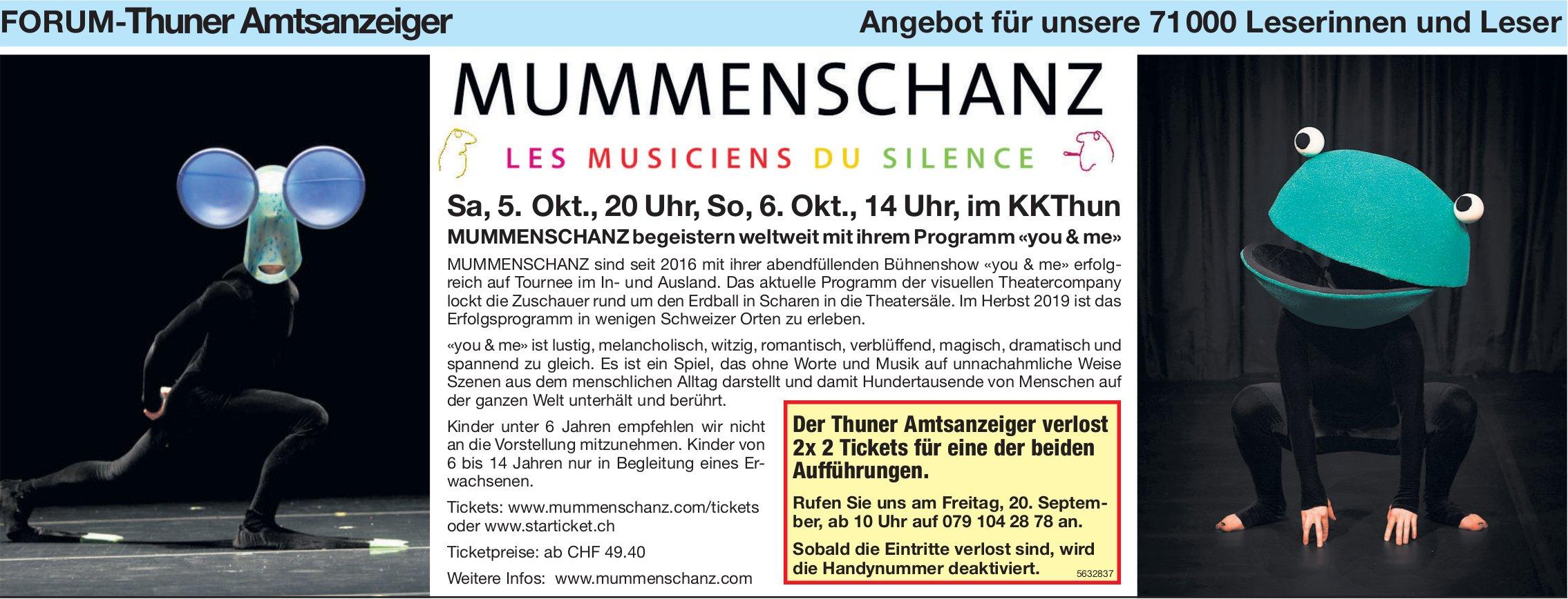 Forum-Thuner Amtsanzeiger - Mummenschanz, 5. + 6. Okt. im KKThun