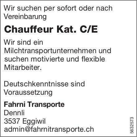 Chauffeur Kat. C/E, Fahrni Transporte, Eggiwil, gesucht