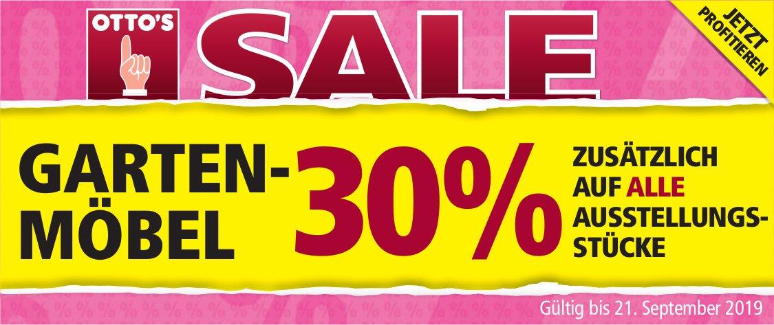 OTTO'S - Garten-Möbel Sale: 30% zusätzlich auf alle Austellungsstücke bis 21. Sept.