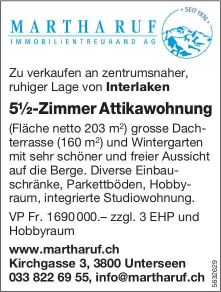5½-Zimmer Attikawohnung an zentrumsnaher ruhiger Lage von Interlaken zu verkaufen