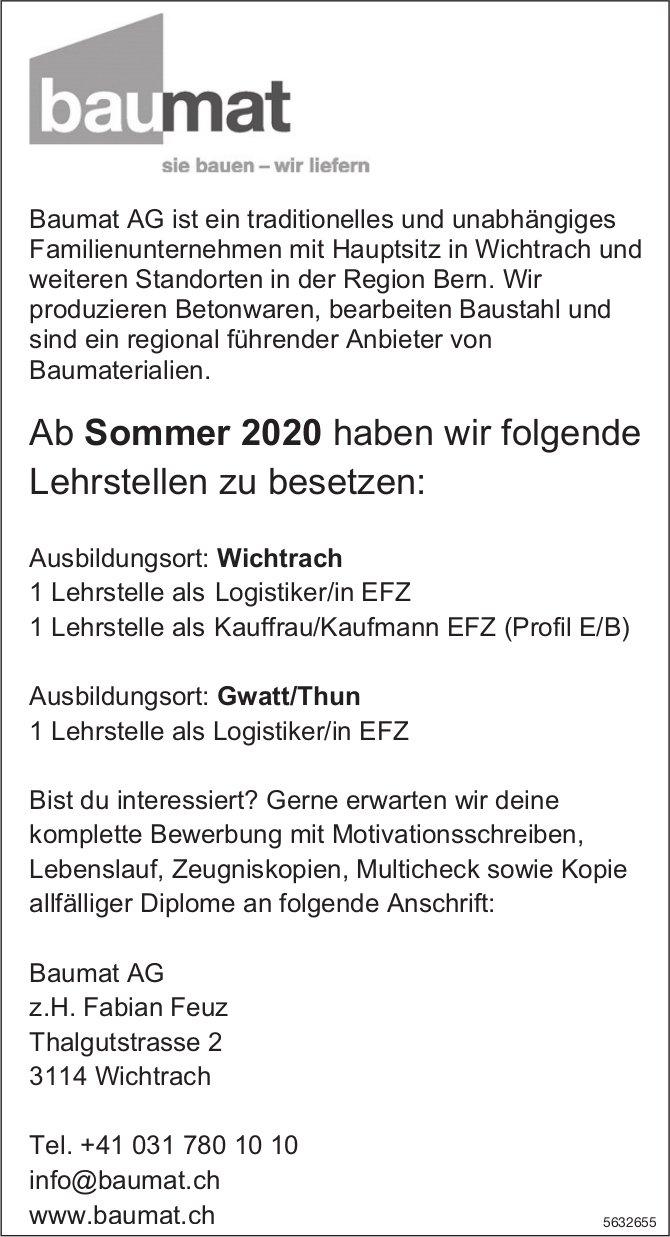 Lehrstellen 2020, Baumat AG, Wichtrach & Gwatt/Thun, zu vergeben