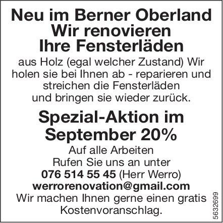 Neu im Berner Oberland - Wir renovieren Ihre Fensterläden