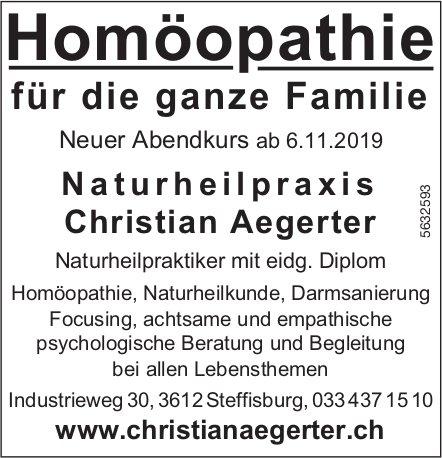 Naturheilpraxis Christian Aegerter - Homöopathie für die ganze Familie. Neuer Abendkurs ab 6.11.19