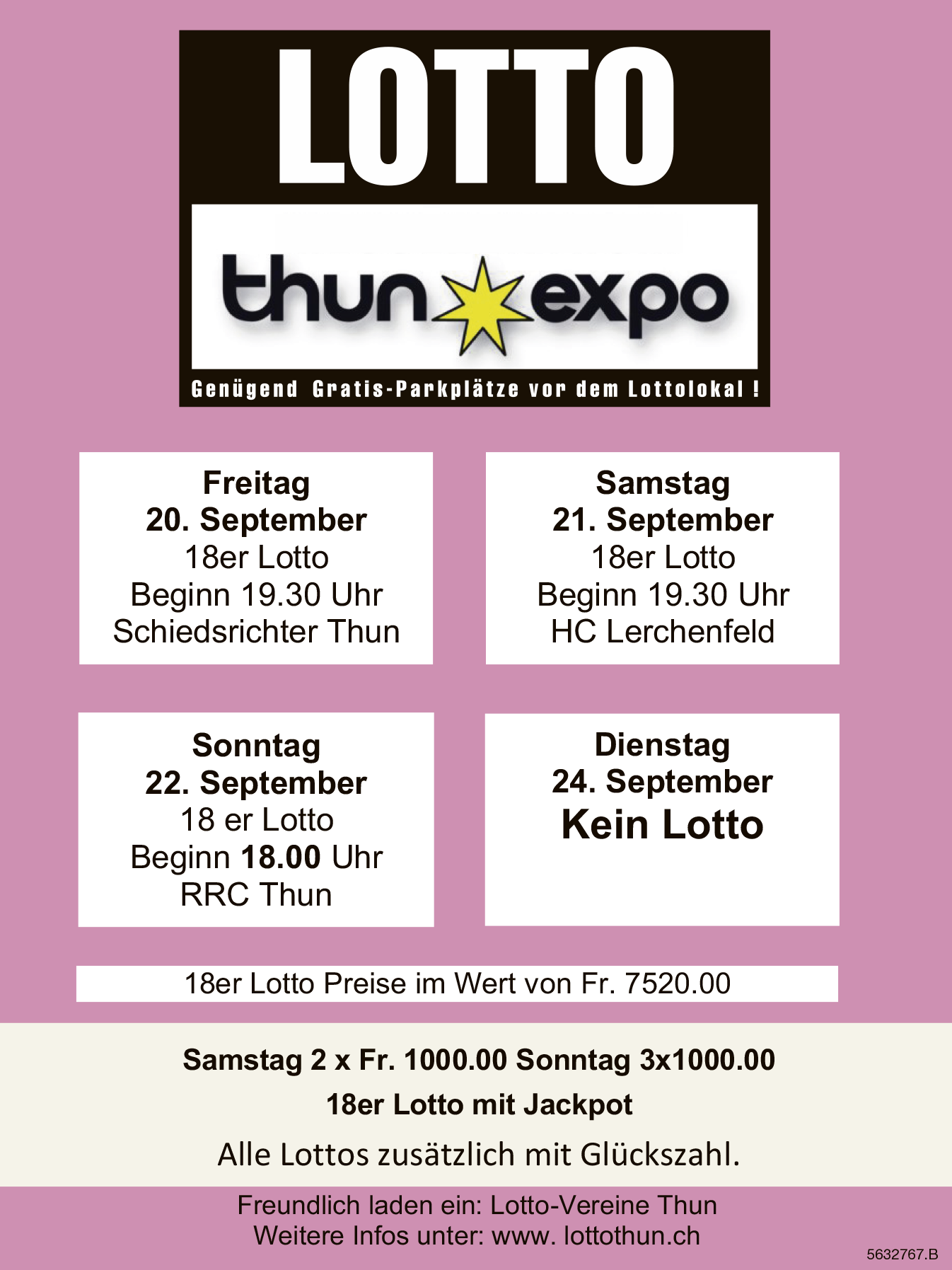 LOTTO Thun Expo - 27./28./29. September und 1. Oktober