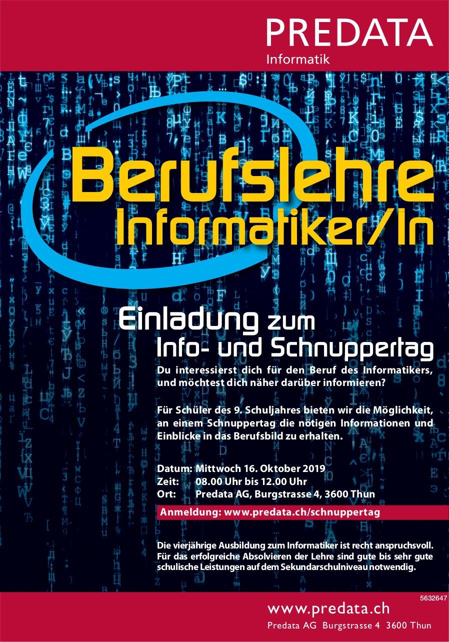 Info- und Schnuppertag, Berufslehre Informatiker/in, 16. Oktober, Thun