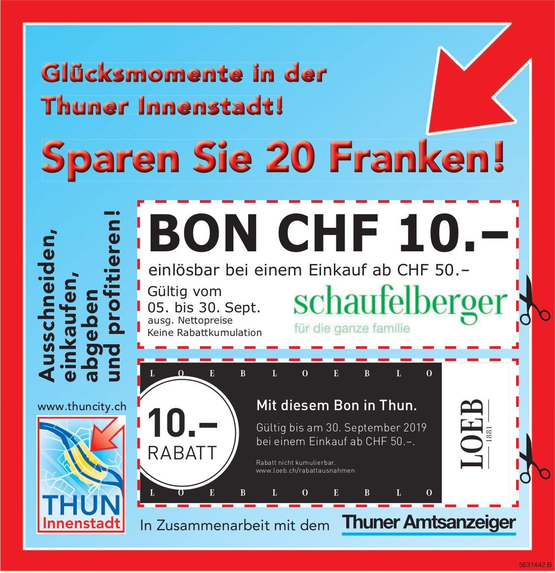 Glücksmomente in der Thuner Innenstadt! BON CHF 10.-