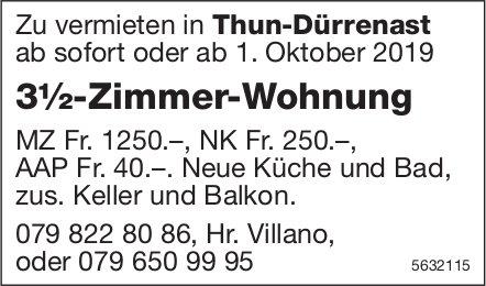 3½-Zimmer-Wohnung in Thun-Dürrenast zu vermieten