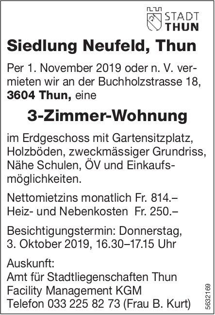 3-Zimmer-Wohnung, Siedlung Neufeld, Thun, zu vermieten / Besichtigung am 3. Oktober