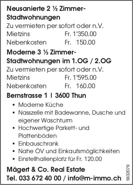 Neusanierte 2 ½ Zi.- Stadtwohnungen sowie moderne 3 ½ Zi.-Stadtwohnungen in Thun zu vermieten