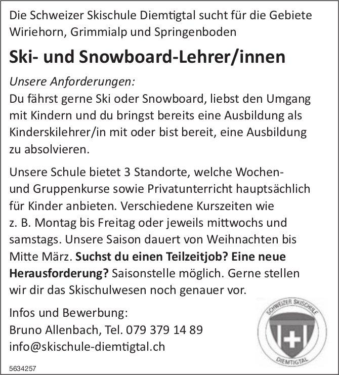 Ski- und Snowboard-Lehrer/innen, Schweizer Skischule Diemtigtal, gesucht