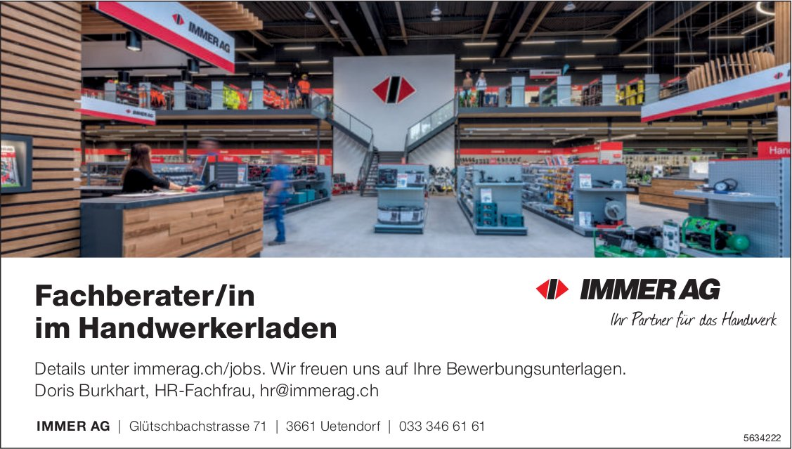 Fachberater/in im Handwerkerladen, Immer AG, Uetendorf, gesucht