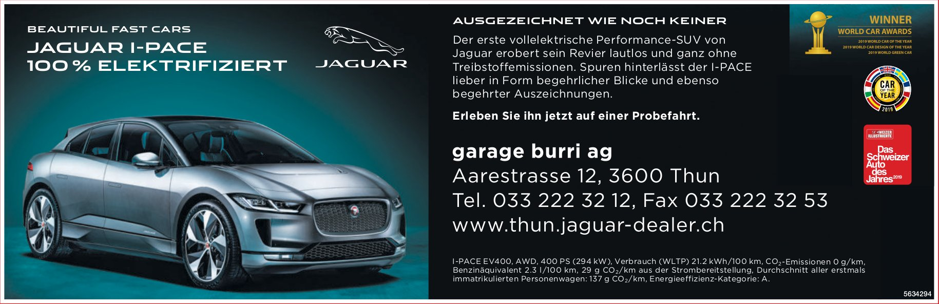 Garage BurriAG - BEAUTIFUL FAST CARS, JAGUAR I-PACE 100 % ELEKTRIFIZIERT