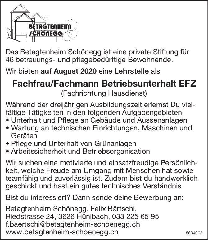 Fachfrau/Fachmann Betriebsunterhalt EFZ, Betagtenheim Schönegg, Hünibach, gesucht