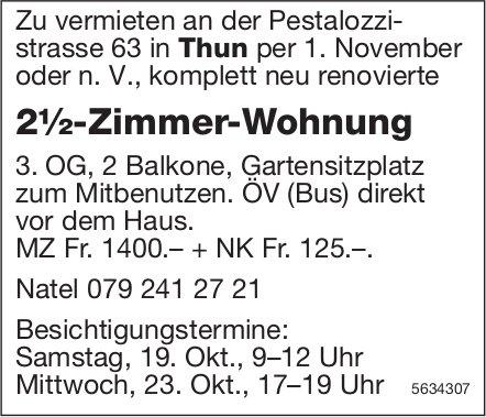 2½-Zimmer-Wohnung in Thun zu vermieten / Besichtigungstermine 19. + 23. Okt.