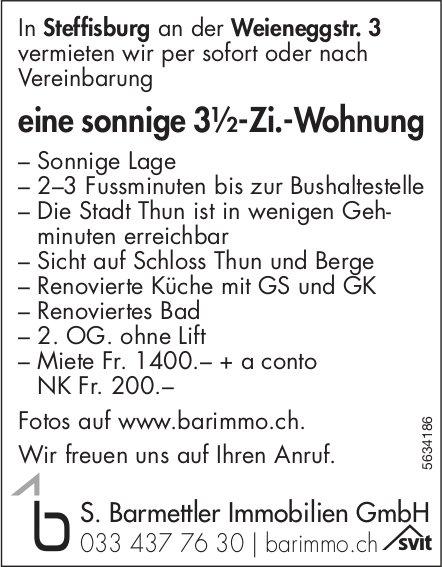 Sonnige 3½-Zi.-Wohnung in Steffisburg zu vermieten