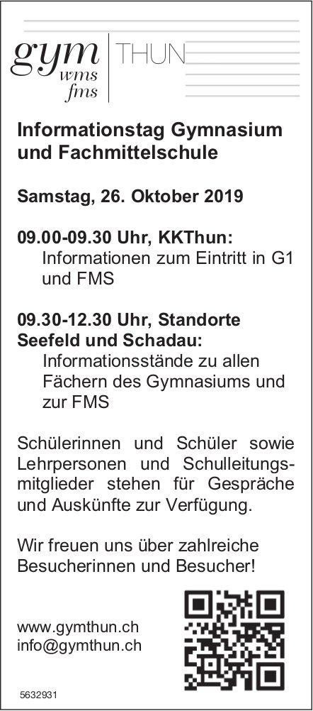 Informationstag Gymnasium und Fachmittelschule, 26. Oktober, KK Thun