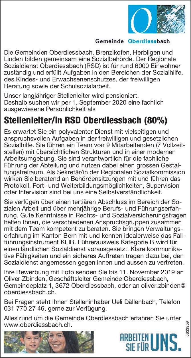 Stellenleiter/in RSD, Gemeinde Oberdiessbach, gesucht