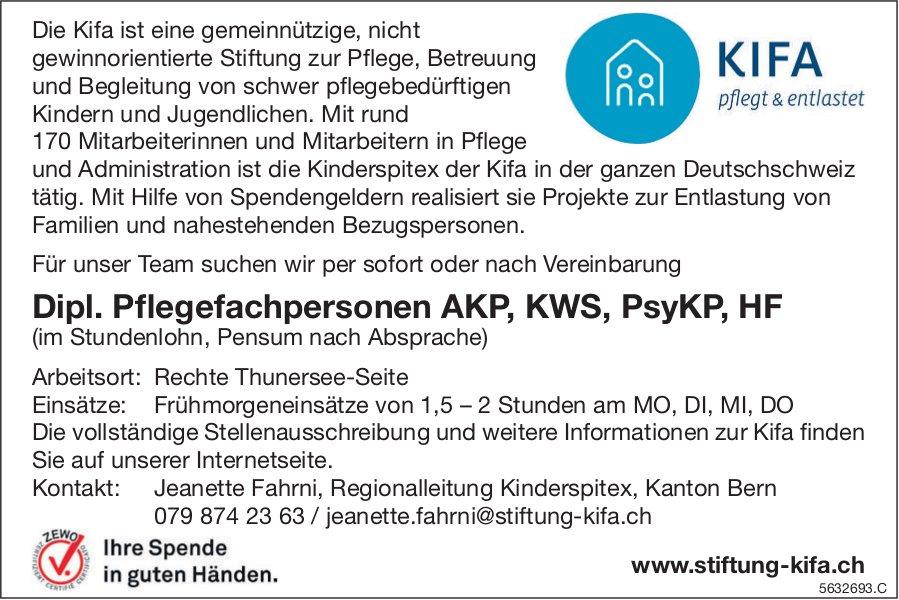 Dipl. Pflegefachpersonen AKP, KWS, PsyKP, HF, Stiftung KIFA, gesucht