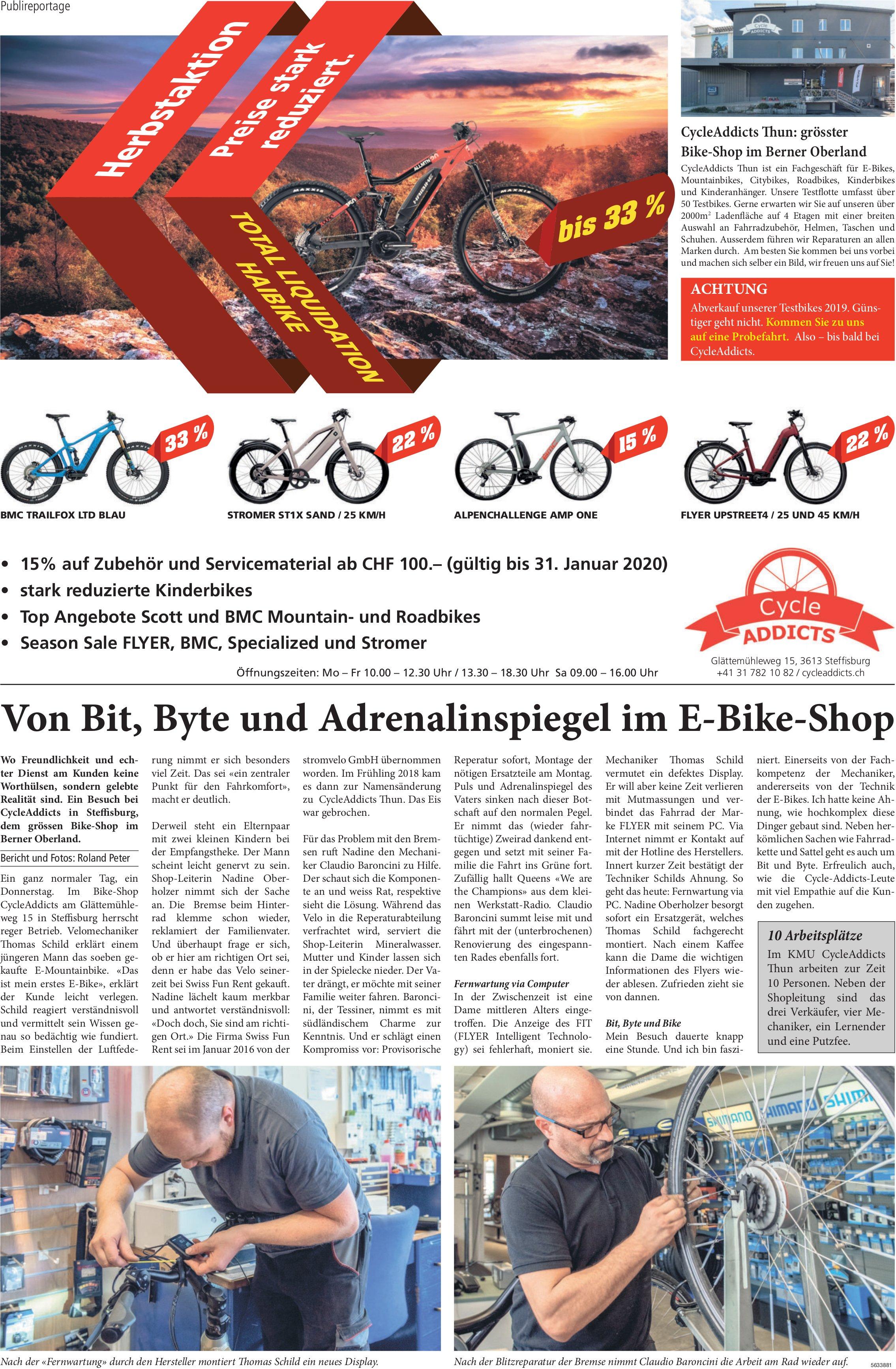 Cycle Addicts - Herbstaktion,  Preise stark reduziert