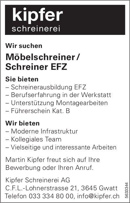 Möbelschreiner / Schreiner EFZ, Kipfer Schreinerei AG, Gwatt, gesucht