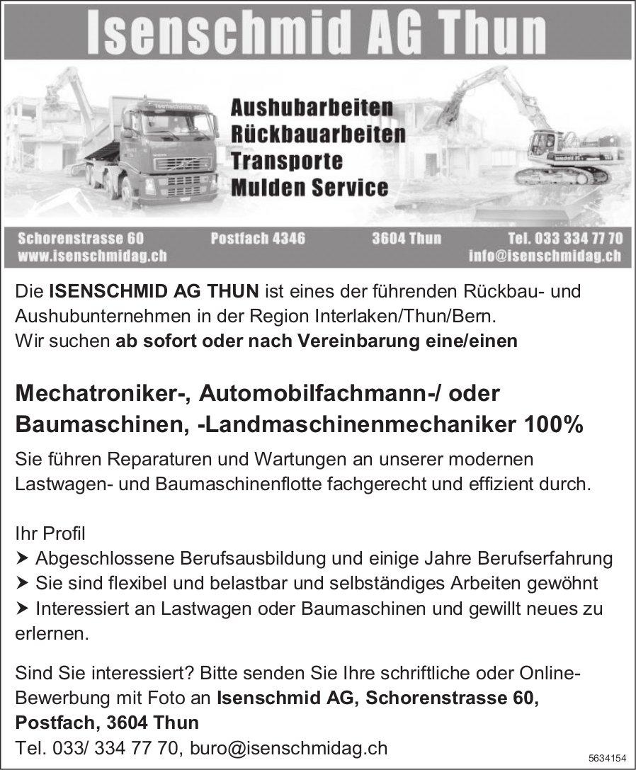 Mechatroniker-, Automobilfachmann-/oder Baumaschinen, -Landmaschinenmechaniker, Isenschmid AG, Thun