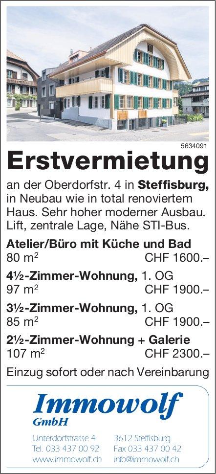 Erstvermietung in Steffisburg von Atelier/Büro und 2.5- bis 4.5-Zimmer-Wohnungen