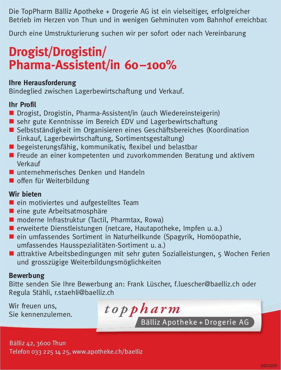 Drogist/Drogistin/ Pharma-Assistent/in, Toppharm Bälliz Apotheke, Thun, gesucht
