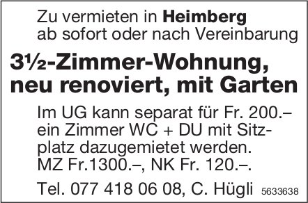 3½-Zimmer-Wohnung, neu renoviert, mit Garten in Heimberg zu vermieten