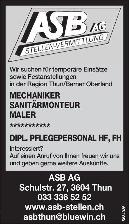 Mechaniker, Sanitärmonteur, Maler, Dipl. Pflegepersonal HF, FH, ABS AG, Thun, gesucht
