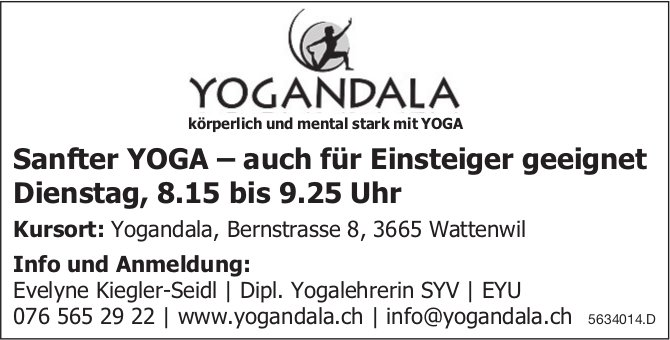 Sanfter YOGA, dienstags, Wattenwil