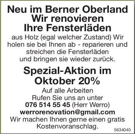 Neu im Berner Oberland: Wir renovieren Ihre Fensterläden/ Spezial-Aktion im Oktober 20%